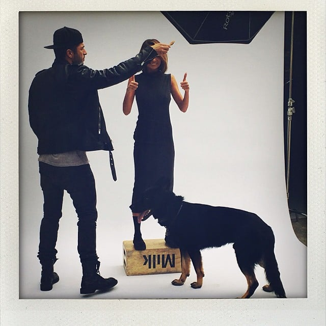 Nicole Richie had support from a friendly pooch and a milk crate on the set of a recent photo shoot. Source: Instagram user nicolerichie