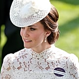 "In comparison, Kate had her ""HRH The Duchess of Cambridge"" badge on full display when she attended the event in 2017 wearing Alexander McQueen."