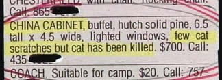 """""""China cabinet buffet... few cat scratches but cat has been killed."""""""