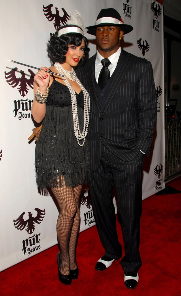 Kim and Reggie Bush dressed as '20s-era gangsters for an LA Halloween bash in October 2008.