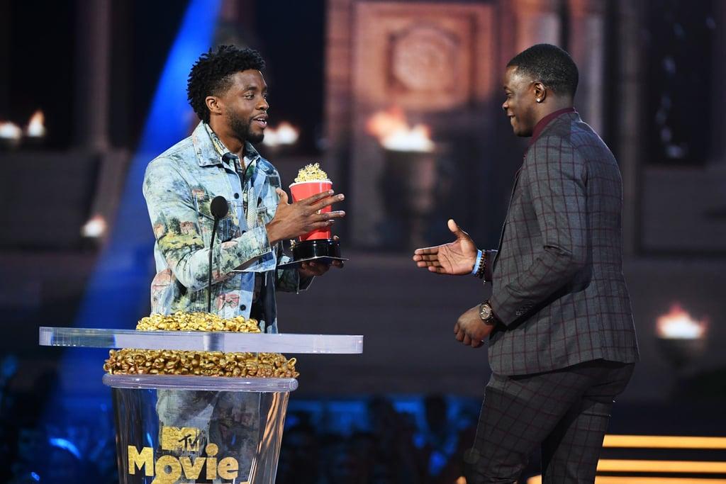 Chadwick Boseman Gives Award to James Shaw Jr. at MTV Awards