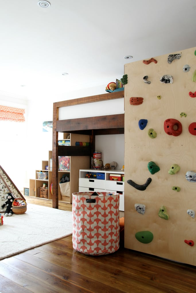 A bunk bed climbing wall