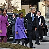We love how Michelle's daughters Malia and Sasha showed off equally gorgeous plum-hued coats.