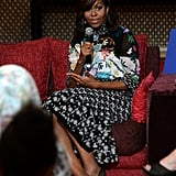 The first lady sat down to speak to young women in Morocco, selecting a brilliant Peter Pilotto design.