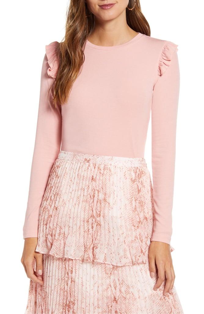 Rachel Parcell Pretty Shoulder Slim Sweater