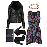 Yes, you can still wear your floral Summer rompers during a cold snap — start by layering a slim-fitting long-sleeve tee and knit tights underneath, then add a shearling leather jacket, cool black ankle boots, and an eye-catching bangle. It's a cute, toasty look that works well for day or night. Shop the look:  Topshop Shearling Biker Jacket ($150) Wildfox Couture Jewelry Bone Bangle ($69) Motel Rocks Stacey Playsuit ($80) BCBG Max Azria Nymeria Suede Ankle Bootie ($149) Gap Opaque Heavyweight Tights ($15)
