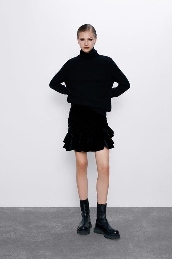 Zara Velvet Miniskirt