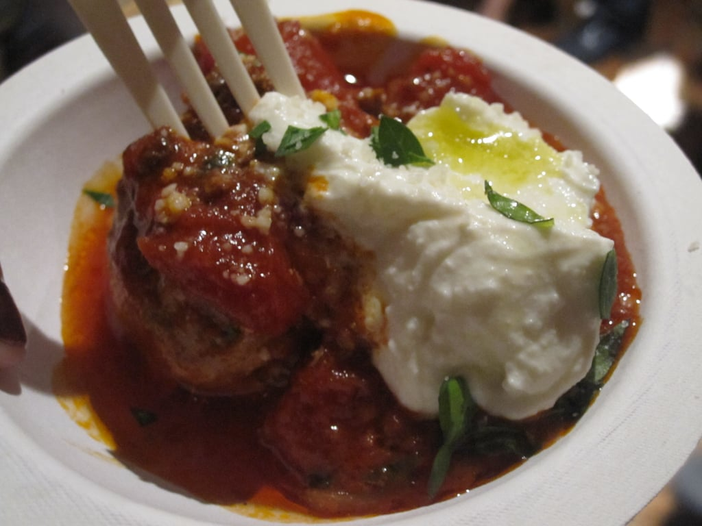 Another red-sauced ball with a dollop of ricotta.