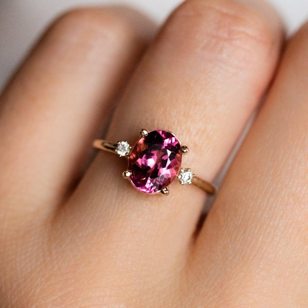 Oval Pink Tourmaline Ring