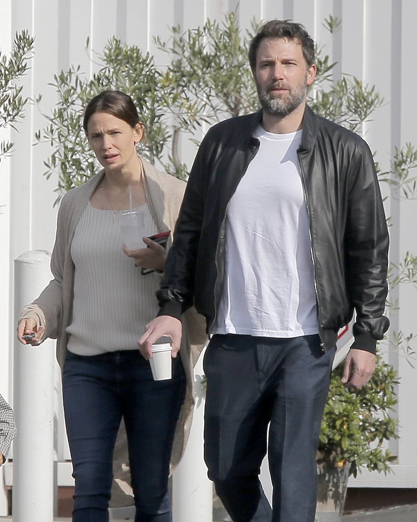April 22: Ben and Jen are spotted leaving the Brentwood Country Mart after having breakfast with Samuel.