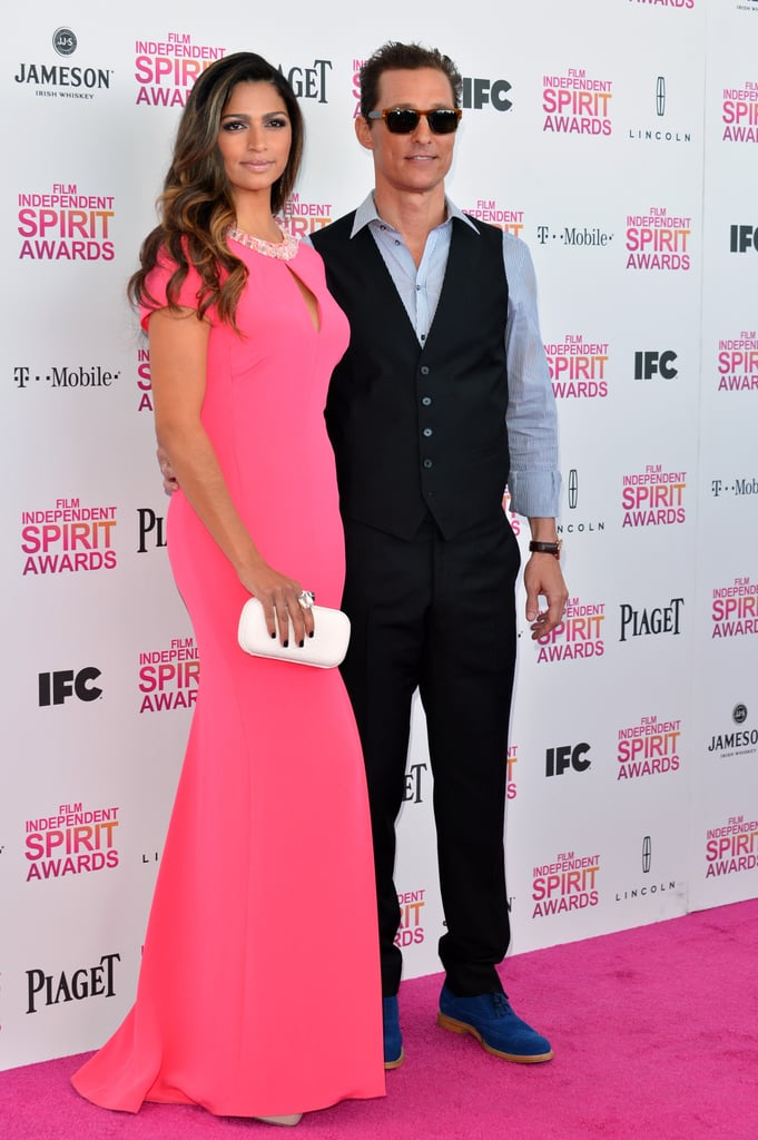 Camila Alves and Matthew McConaughey on the red carpet at the Spirit Awards 2013.