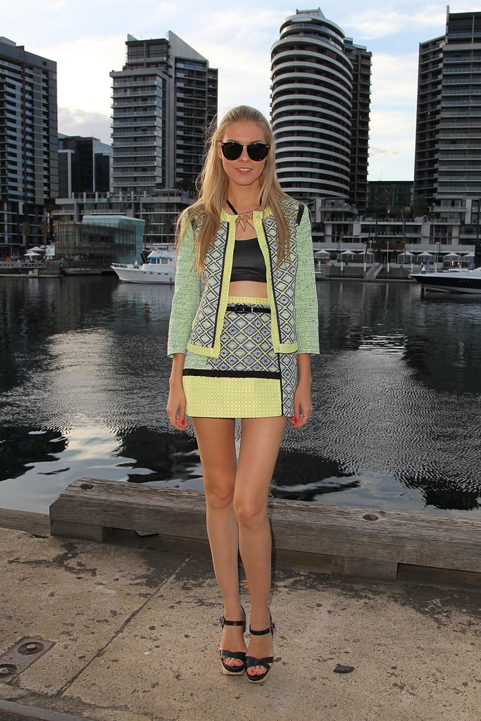 Cute colour alert! This sorbet yellow pops agains the lime and black of this matching skirt suit.