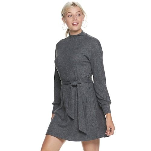 POPSUGAR Belted Cozy Dress in Dark Gray
