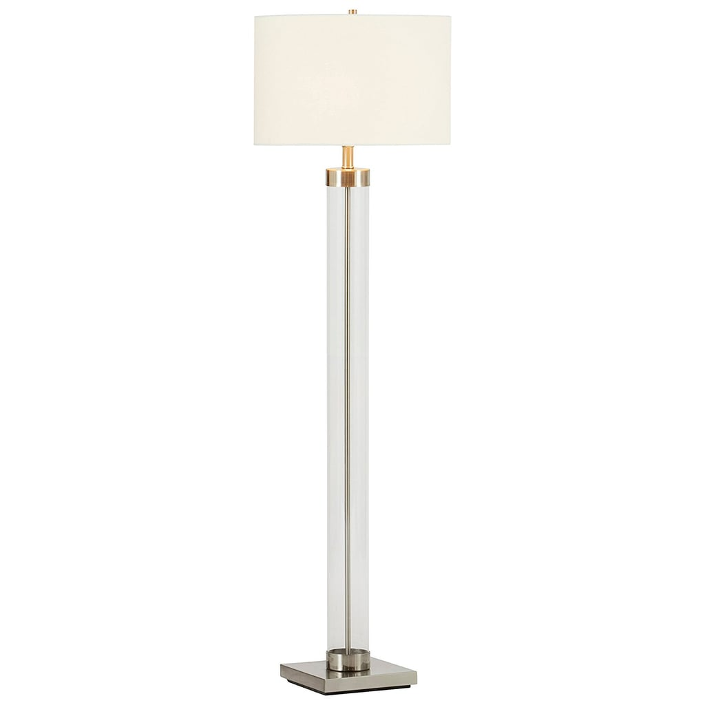 Glass Column Nickel Floor Lamp With Bulb and Shade ($159)