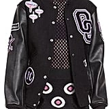 Opening Ceremony Leather-Trim Logo Varsity Jacket, Black/Multicolor ($495)