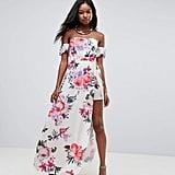 846ae92e0ac7 ... Parisian Off-Shoulder Floral Maxi Dress With Shorts ...