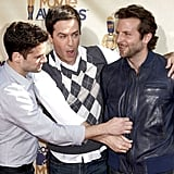 Ed Helms, Justin Bartha, and Bradley Cooper walked the red carpet while promoting The Hangover in 2008.