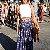 Thanks to a basic white cropped tank, this Free People skirt, topped with a vintage belt, stood out the most.