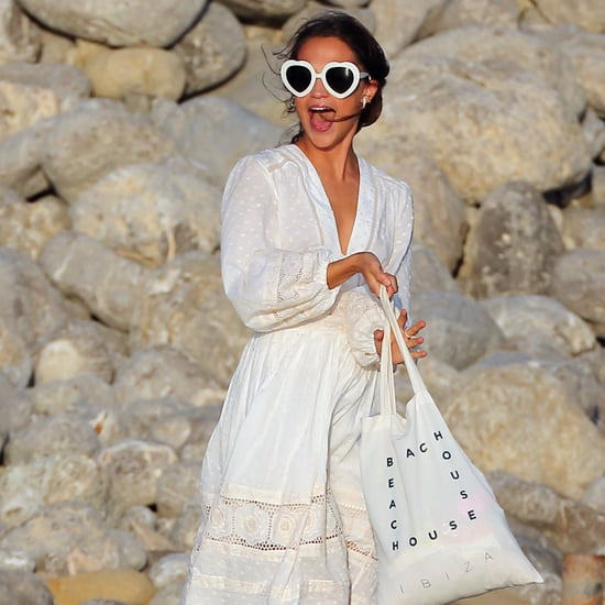 Alicia Vikander Wearing White Dress in Ibiza