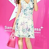 Miranda was undeniably feminine in a floral mini-dress and a pink purse at the Samantha Thavasa event in Japan.