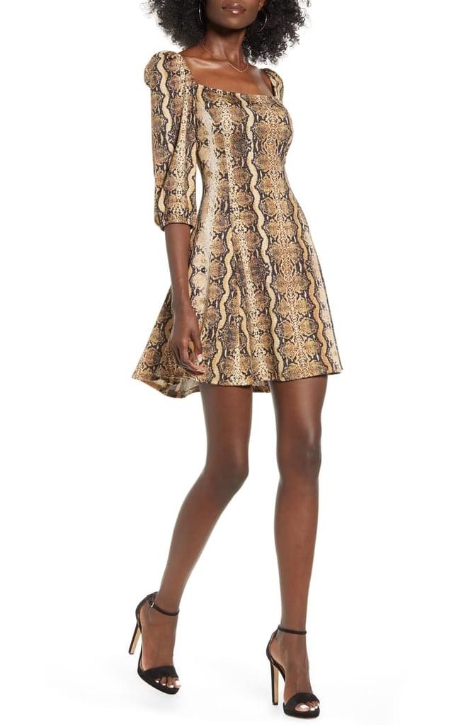 Speechless Snakeprint Fit & Flare Dress