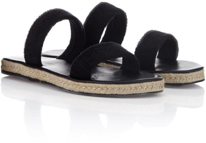 Maslin & Co Black Terry Cotton Hutton Sandals