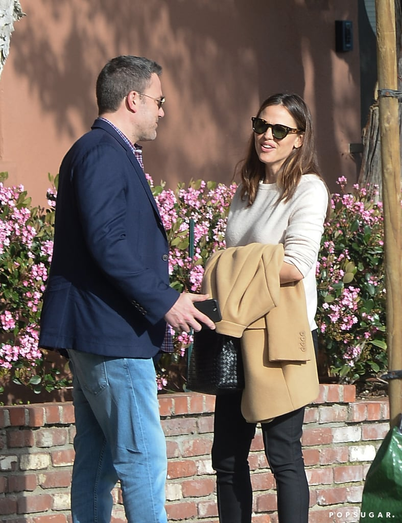 """Despite the fact that Jennifer Garner and Ben Affleck are no longer together, I applaud them for keeping things amicable for the sake of their family. On Thursday, the former couple — who were married from 2005 to 2018 and have three kids together — were spotted out together in LA. The 46-year-old Triple Frontier actor kept things business casual in a blue blazer and jeans, while Jen looked stylish in an ivory sweater, black trousers, and snakeskin heels. The exes appeared to be in good spirits as they chatted and Ben showed Jen something on his phone — perhaps he's thinking of getting another tattoo and wanted Jen's opinion? Earlier this month, Ben stopped by The Ellen DeGeneres Show to promote his new Netflix film, Triple Frontier, and opened up about his famous phoenix back tattoo. You know, the one he initially claimed was fake! Ben admitted that he's seen the negative comments about it but that the tattoo """"represents something important"""" to him and he loves it. The actor recently rekindled his relationship with Lindsay Shookus, while Jen has been dating tech CEO John Miller since the Spring of 2018.       Related:                                                                                                                                Ben Affleck Candidly Speaks About His Struggle With Alcoholism: """"It's Part of My Life"""""""