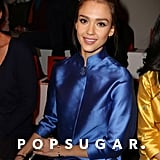 Jessica Alba wore a blue kimono to the Shiatzy Chen show on Tuesday in Paris.