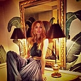Speaking of Jessica Hart, she posed in a gorgeous cutout gown at the Beverly Hills Hotel.  Source: Instagram user 1jessicahart