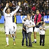 David Beckham waved to fans from the soccer field with his sons Cruz, Brooklyn, and Romeo Beckham.