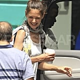 Katie Holmes leaves Miami with coffee.