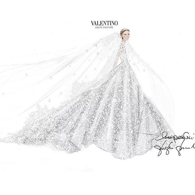 Nicky shared the sketch of her stunning gown, writing, \