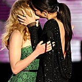 Scarlett shared a steamy onstage kiss with Sandra Bullock at the MTV Movie Awards in 2010.