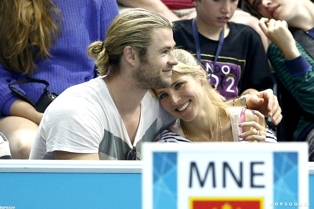 Chris Hemsworth and Elsa Pataky cuddled during the London Olympics in August 2012.