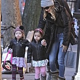 Sarah Jessica Parker took her twin daughters, Loretta and Tabitha, to school in NYC.