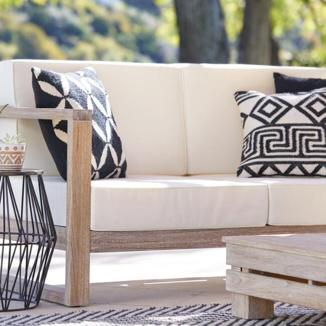 Black and Ivory Petals Woven Indoor Outdoor Throw Pillow