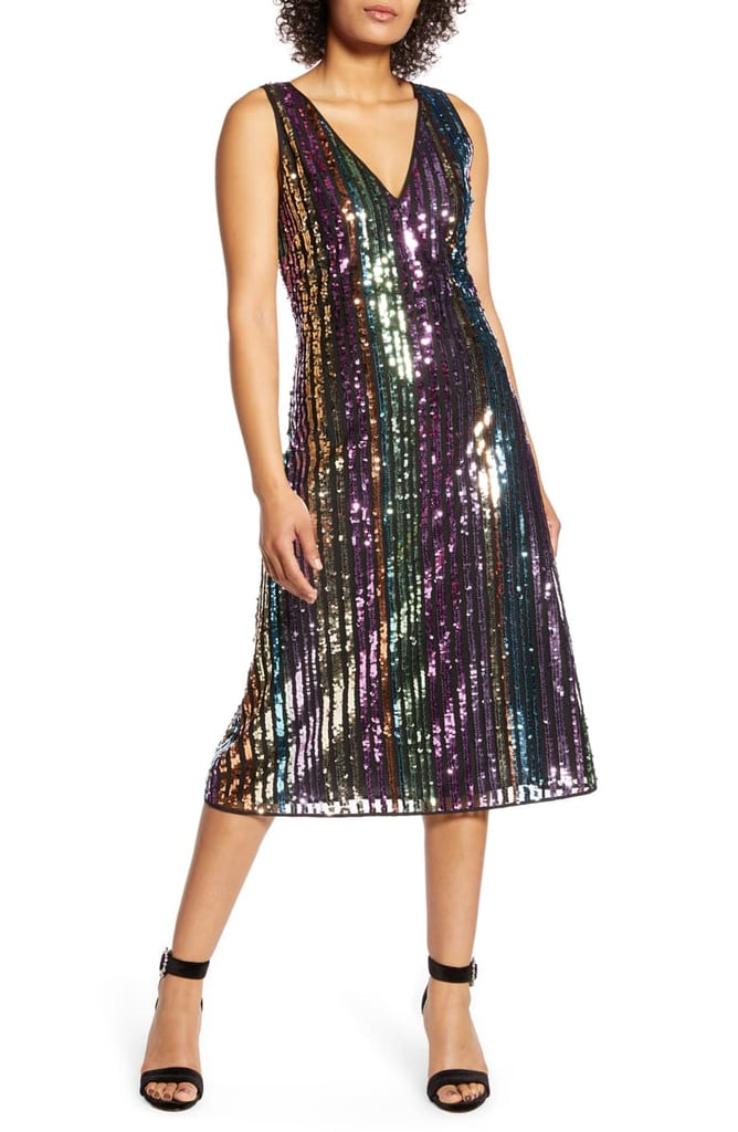 Halogen x Atlantic-Pacific Sequin Stripe Shift Dress