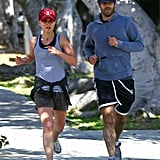Natalie Portman and Benjamin Millepied went for a couple's jog in LA in November 2011.
