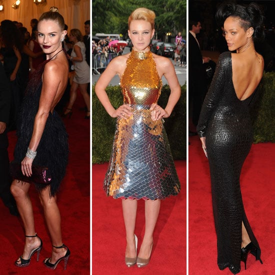 Celebrities Wear Textural Red Carpet Looks at the 2012 Met Gala: Leather, Lace, Tulle, Feathers, Fringing! See Who Wore It Best