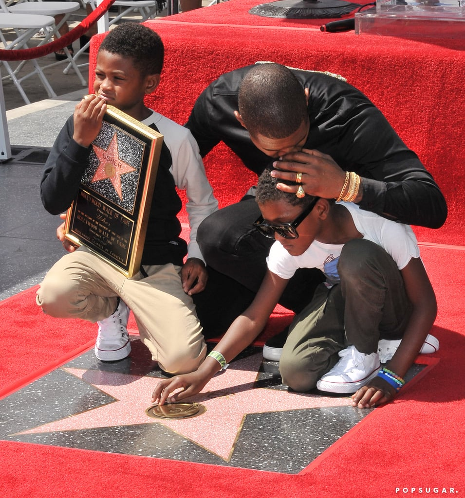 Usher and His Sons at Hollywood Walk of Fame