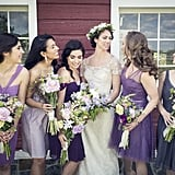 This bride chose all different purple dresses for her bridesmaids.