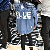 A closer look at Blue's custom denim jacket.