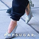 Rihanna Wore Crystal Bottega Veneta Heels to the Airport