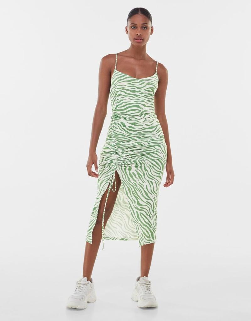 Shop Wavy Dresses: Bershka Printed Midi Dress With Gathered Detailing