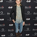 Jennifer Missoni gave a big smile on the red carpet of the New York premiere of Bernie.