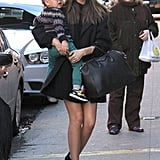 Miranda Kerr dressed up her LBD with colorblock Pierre Hardy heels and a luxe Givenchy bag (and baby Flynn in tow).