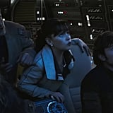 A tense moment in the Millennium Falcon with Chewbacca (Joonas Suotamo), Beckett (Woody Harrelson), Qi'ra (Emilia Clarke), and the man himself, Han Solo (Alden Ehrenreich).