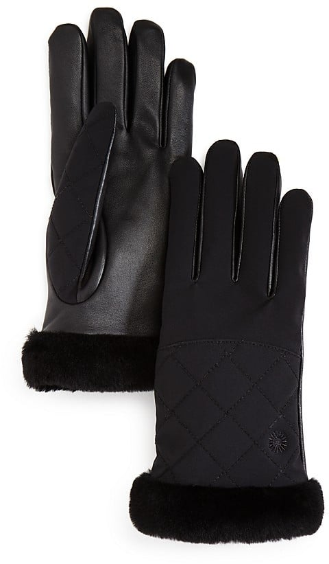 UGG Quilted Leather & Sheepskin Tech Gloves