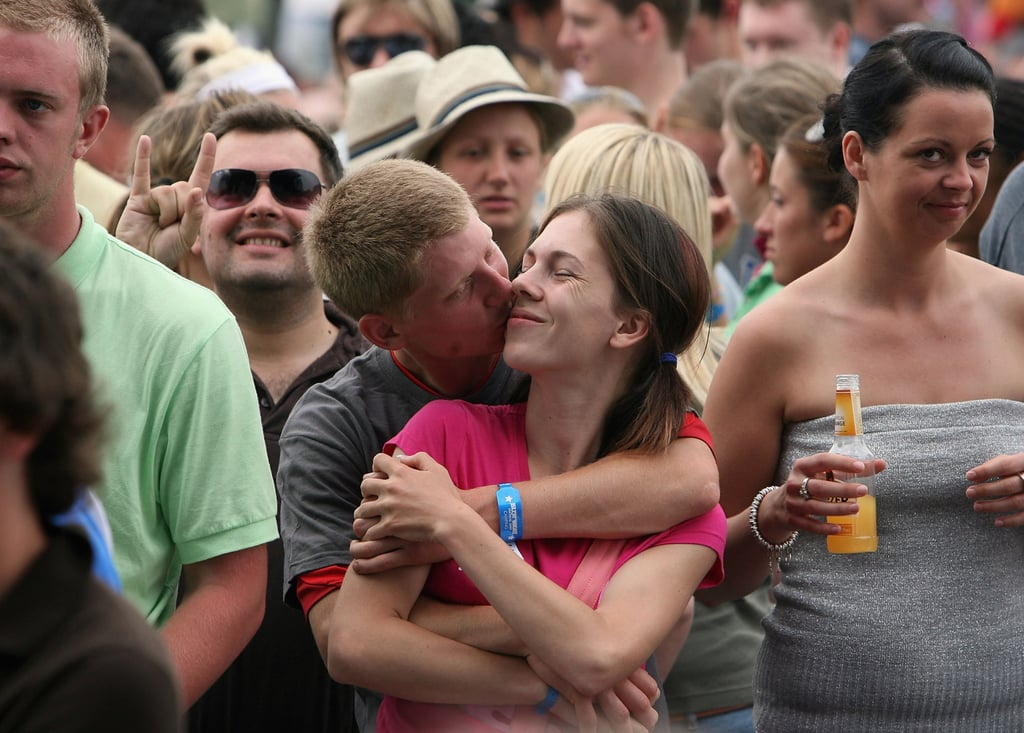 A couple enjoyed the tunes during the Isle of Wight Festival in the Isle of Wight, England.