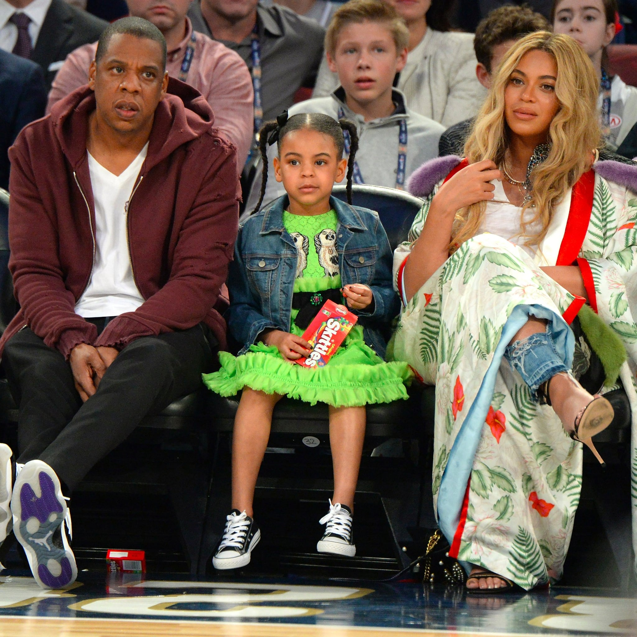 48f3645538c7e8 Beyonce With Jay Z and Blue Ivy at NBA All-Star Game 2017